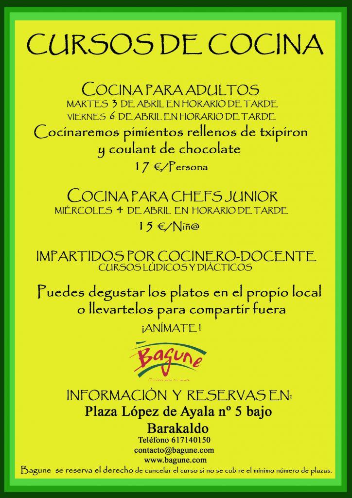 CURSOS DE COCINA EN ABRIL, ANÍMATE (Plazas limitadas)